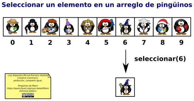 Operación de selección en un arreglo de pingüinos