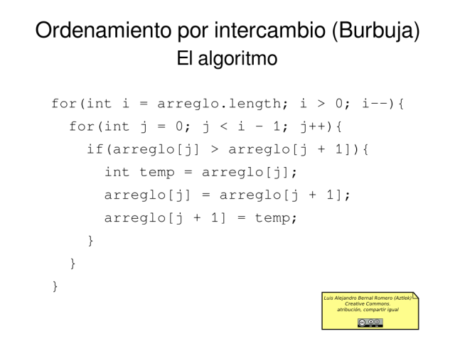 Ordenamiento por intercambio (Burbuja): El Algoritmo